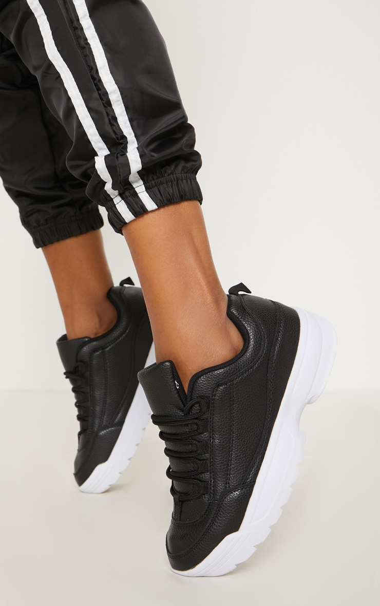 Black Chunky Cleated Sole Sneakers 3