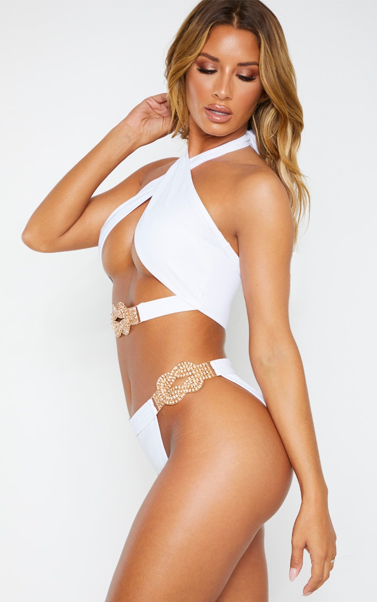 White Diamante Jewel Bikini Bottom 2