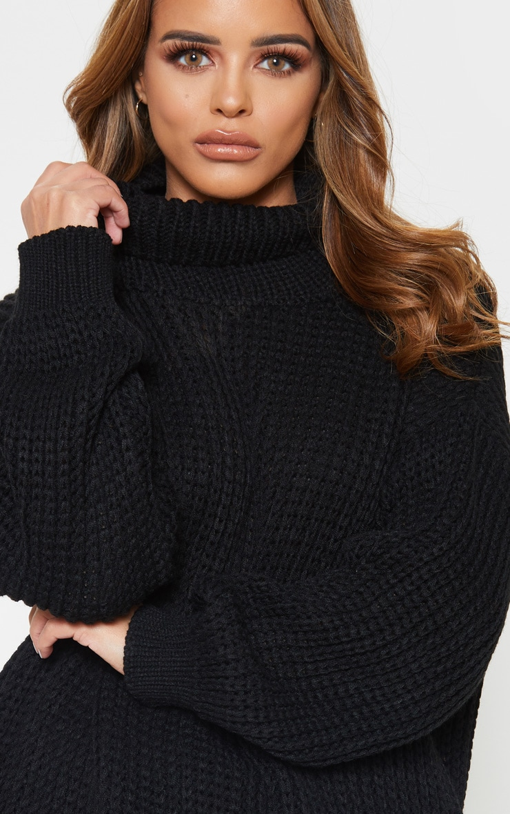 Petite Black Roll Neck Oversized Chunky Knit Sweater 5