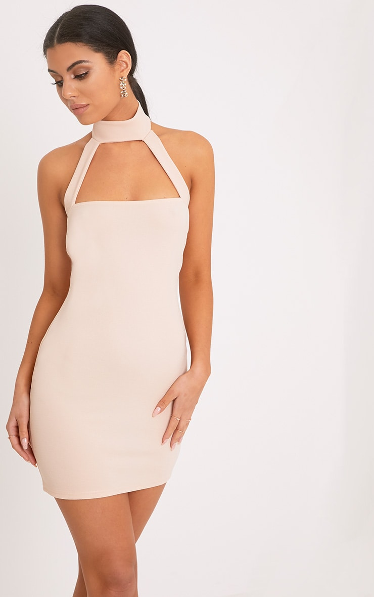 Corin Nude Strap Detail Bodycon Dress  1