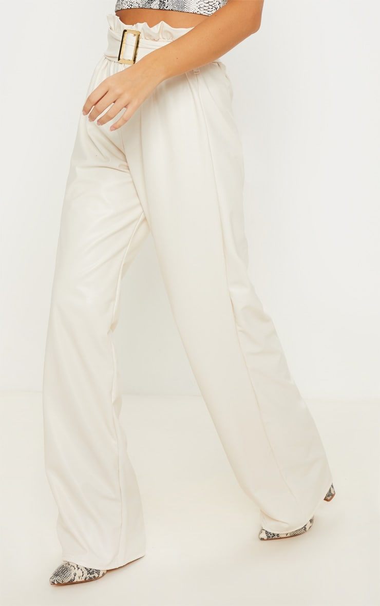Cream Faux Leather Belted Waist Wide Leg Trouser 2