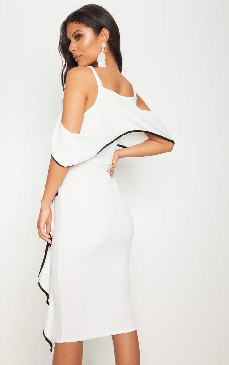 Monochrome Binding Detail Off The Shoulder Midi Dress 2