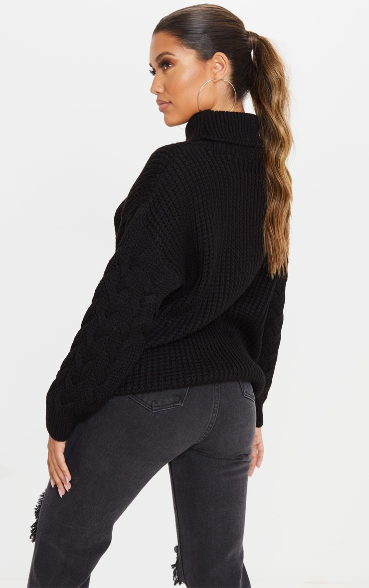 Black Chunky Knitted Cable Sleeve Sweater 2