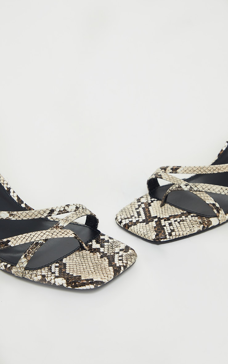 Snake Print Low Heel Strappy Sandals 4