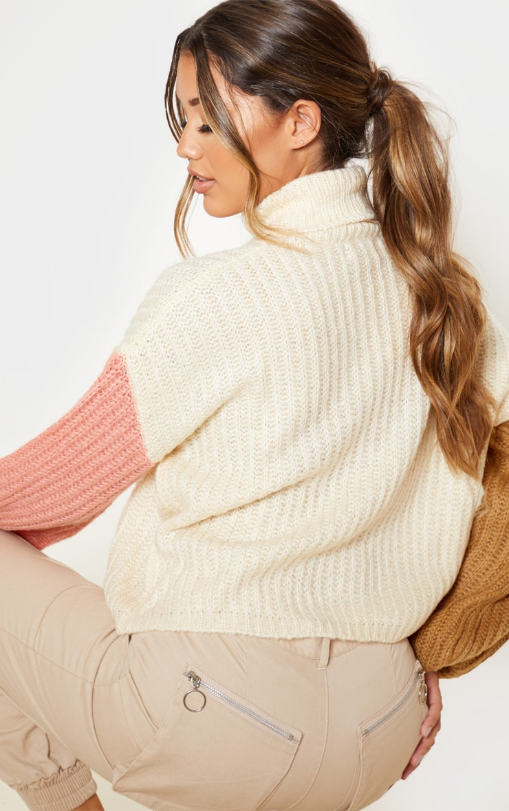 Cream Colour Block Fluffy Knit Sweater 2
