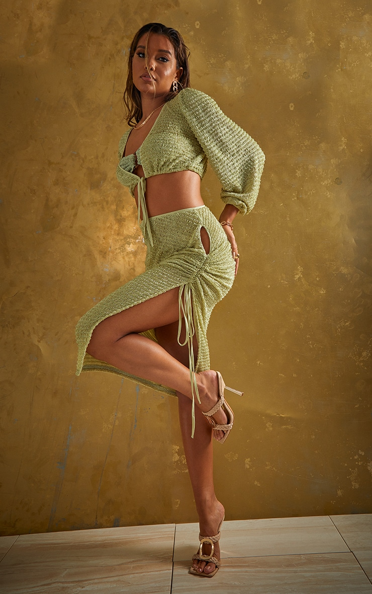 Green Textured Cut Out Ruched Side Beach Skirt 1