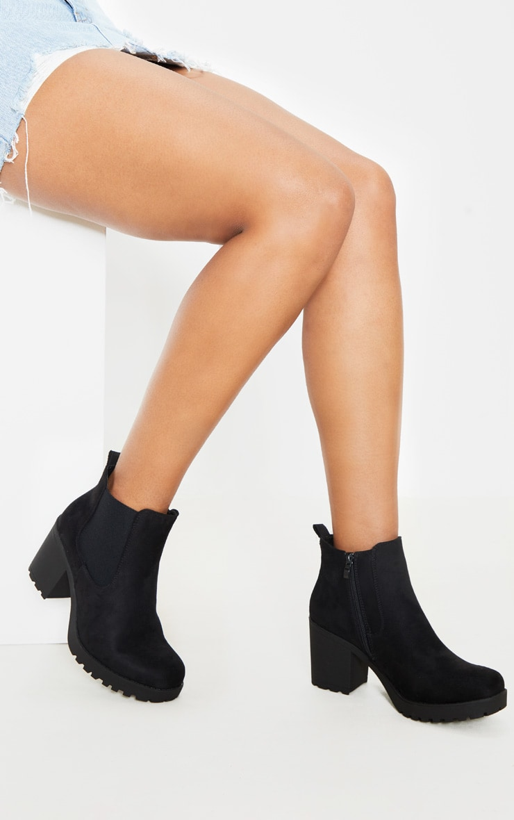Black Faux Suede Cleated Chelsea Ankle Boots 1