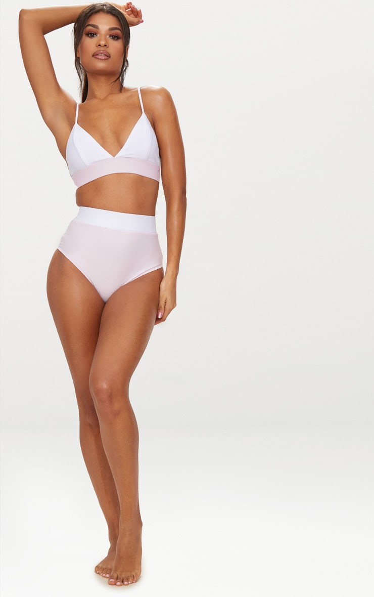 Lilac & White Contrast Beach Co-ord Bikini Bottom 5
