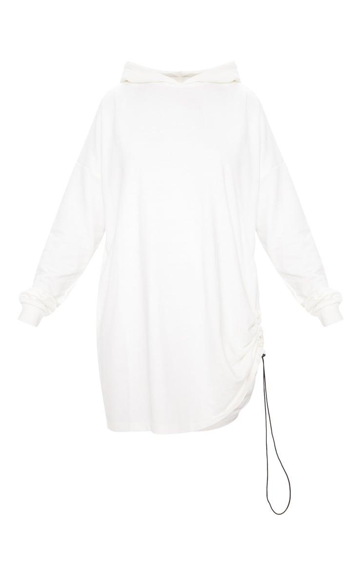 Ecru Ruched Side Hoodie Jumper Dress 3