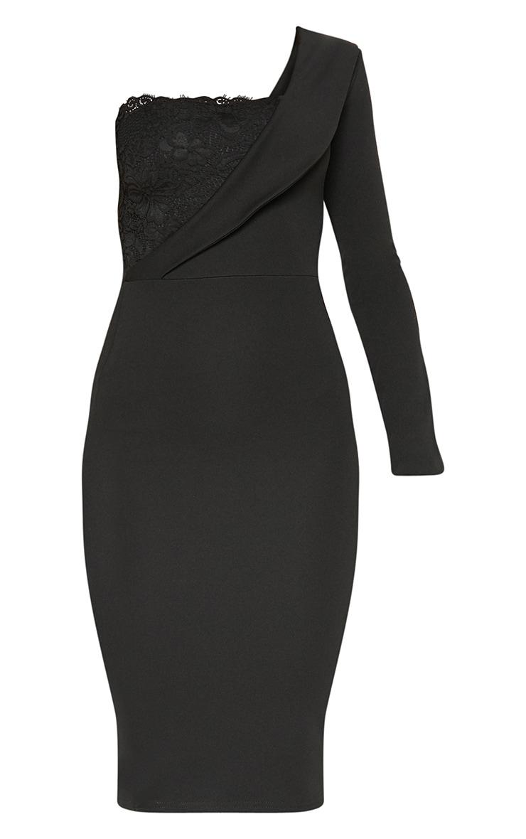 Black One Shoulder Tux Lace Panel Midi Dress 3