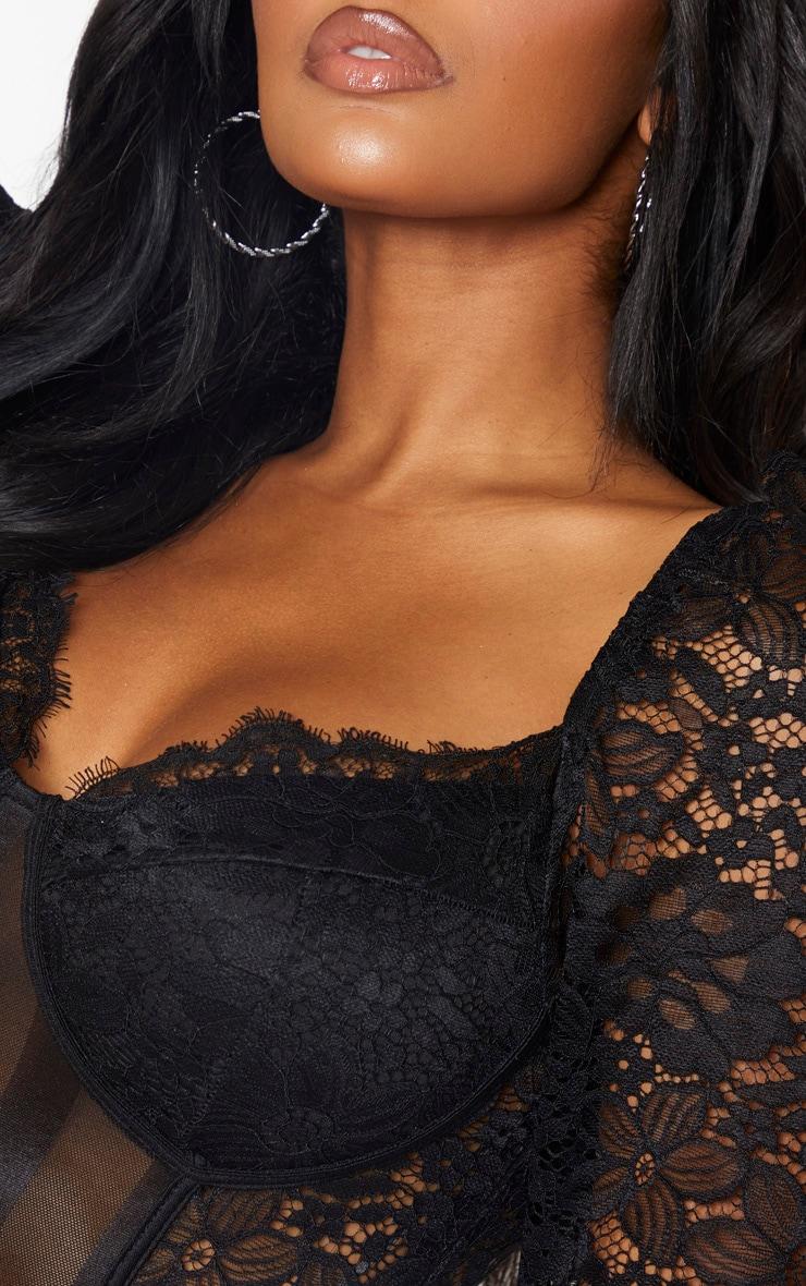 Shape Black Lace Mesh Stripe Long Sleeve Bodycon Dress 5