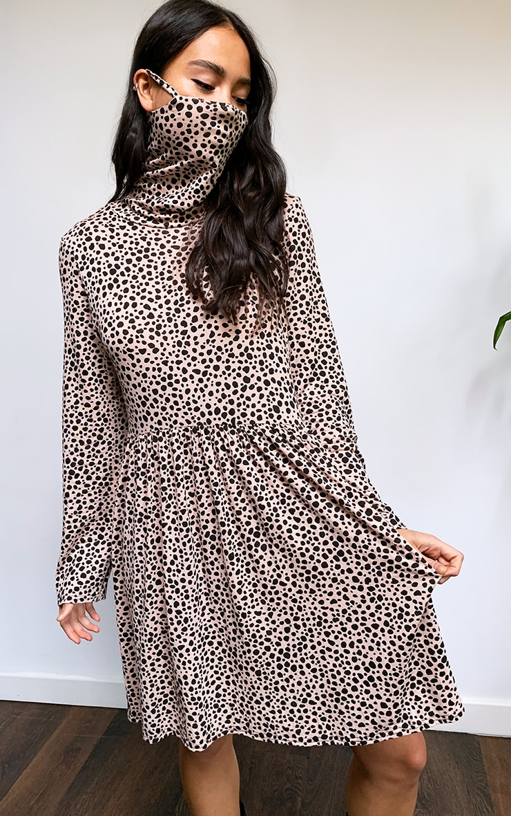Blush Dalmatian Print Mask Smock Dress 1