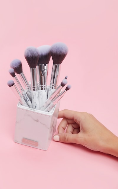 BH Cosmetics White Marble 9 Piece Brush Set with Holder