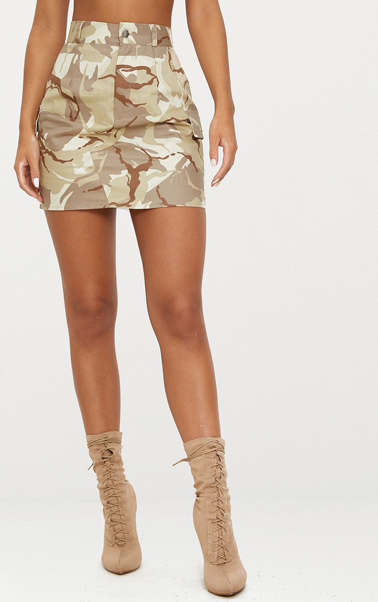 Khaki Camo Cargo Mini Skirt 3