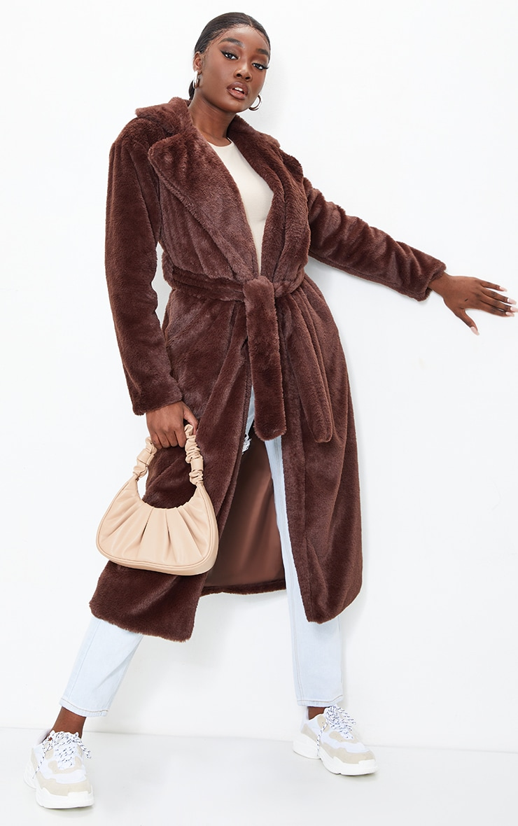 Tall Chocolate Belted Faux Fur Coat 1