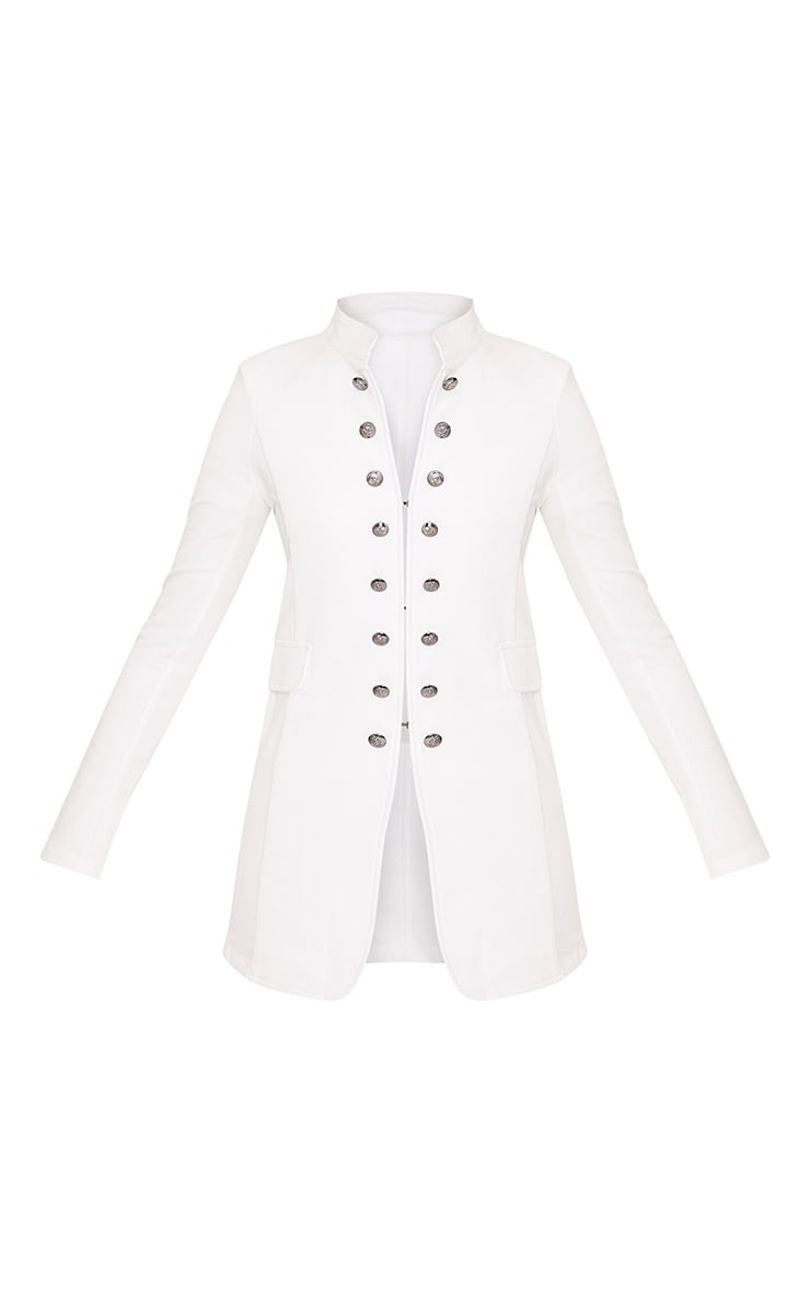 Solenn White Double Button Miltary Coat 3