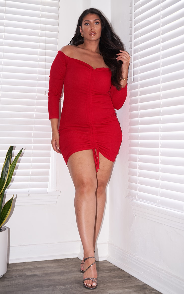 Plus Red Ribbed Long Sleeve Bardot Ruched Bodycon Dress 1