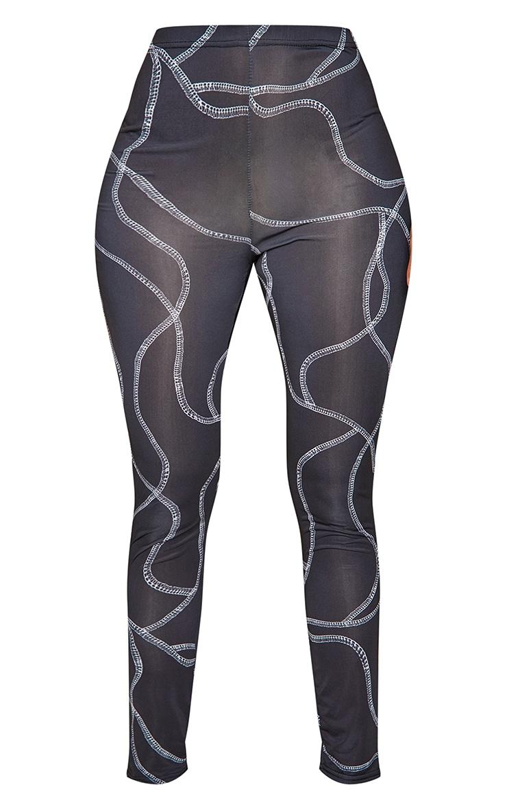Black Slinky Contrast Seam Print Detail Leggings 5