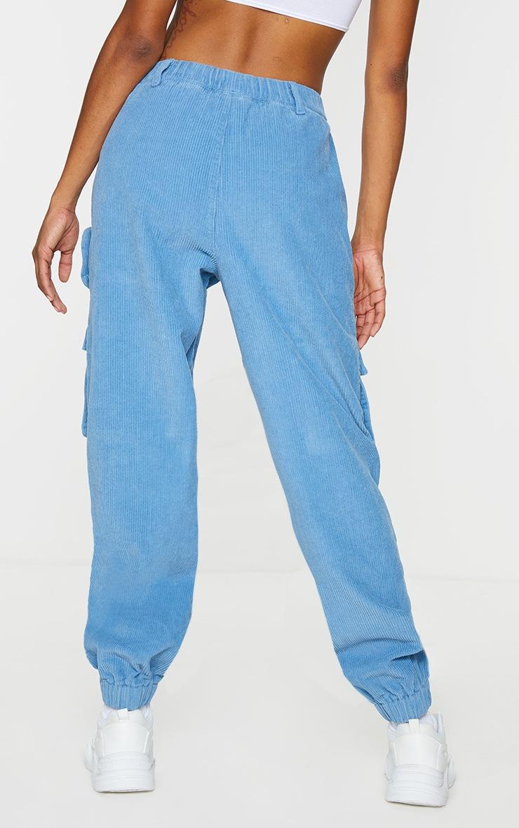 Blue Velour Cord Cargo Pants 3