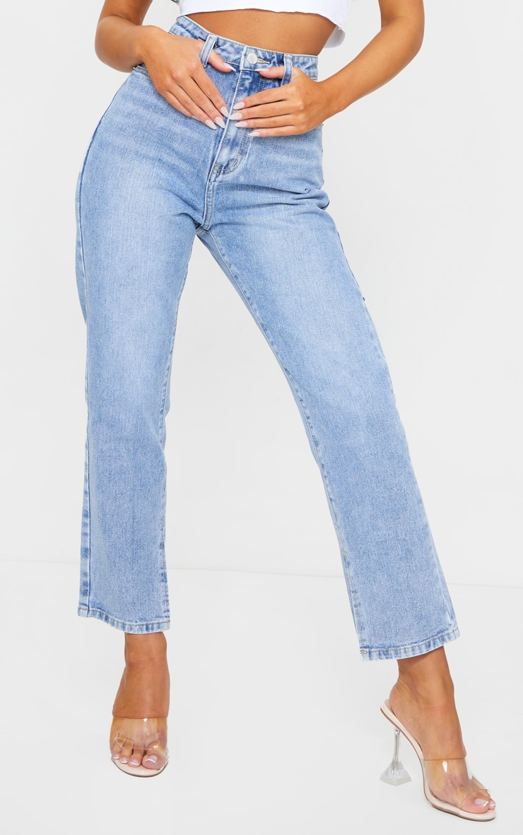 Mid Wash Cropped Split Hem Bum Rip Jeans 2