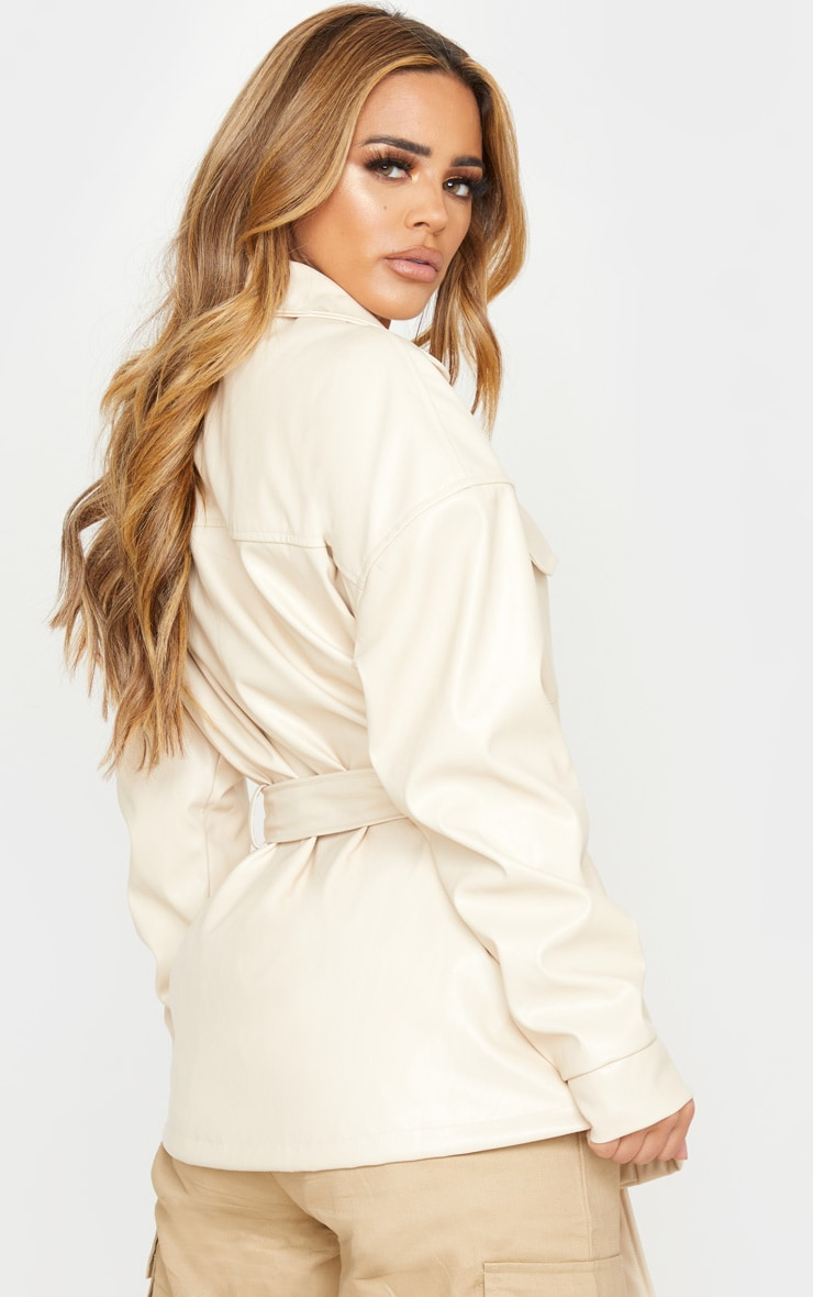 Petite Cream Faux Leather Belt Detail Jacket 2