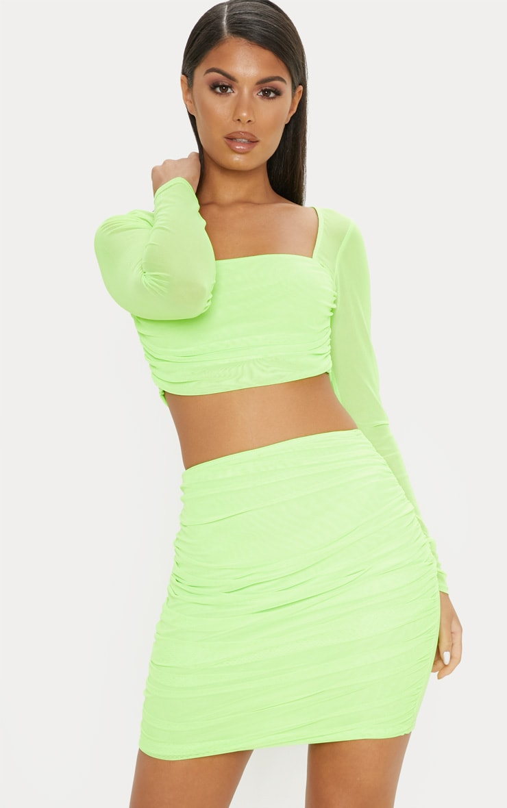 Neon Green Mesh Ruched Skirt 1