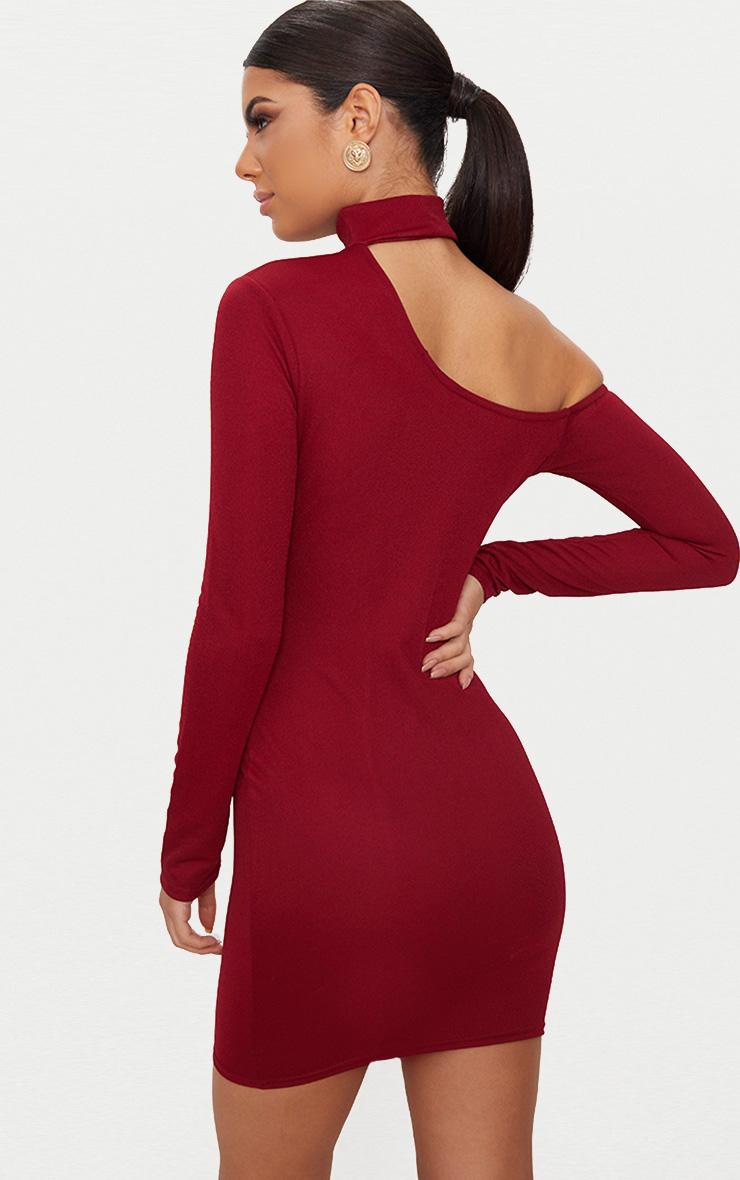 Burgundy Choker Detail One Shoulder Bodycon Dress 2