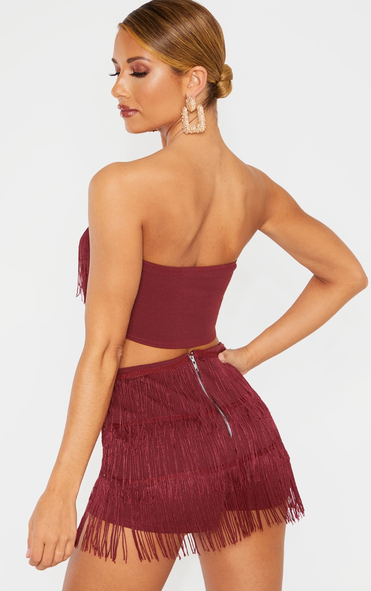 Burgundy Tassel Bandeau Crop Top 2