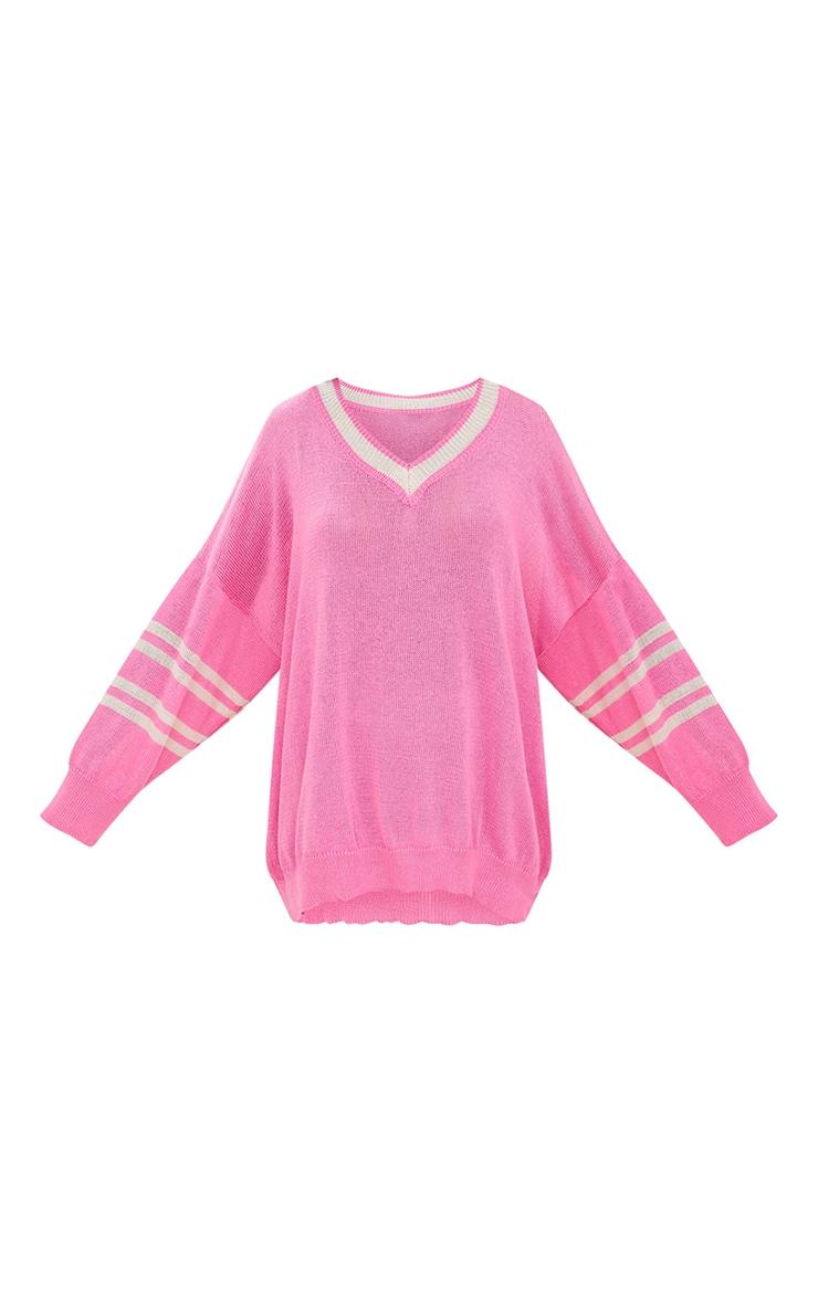 Pink V Neck Sheer Knitted Jumper 3