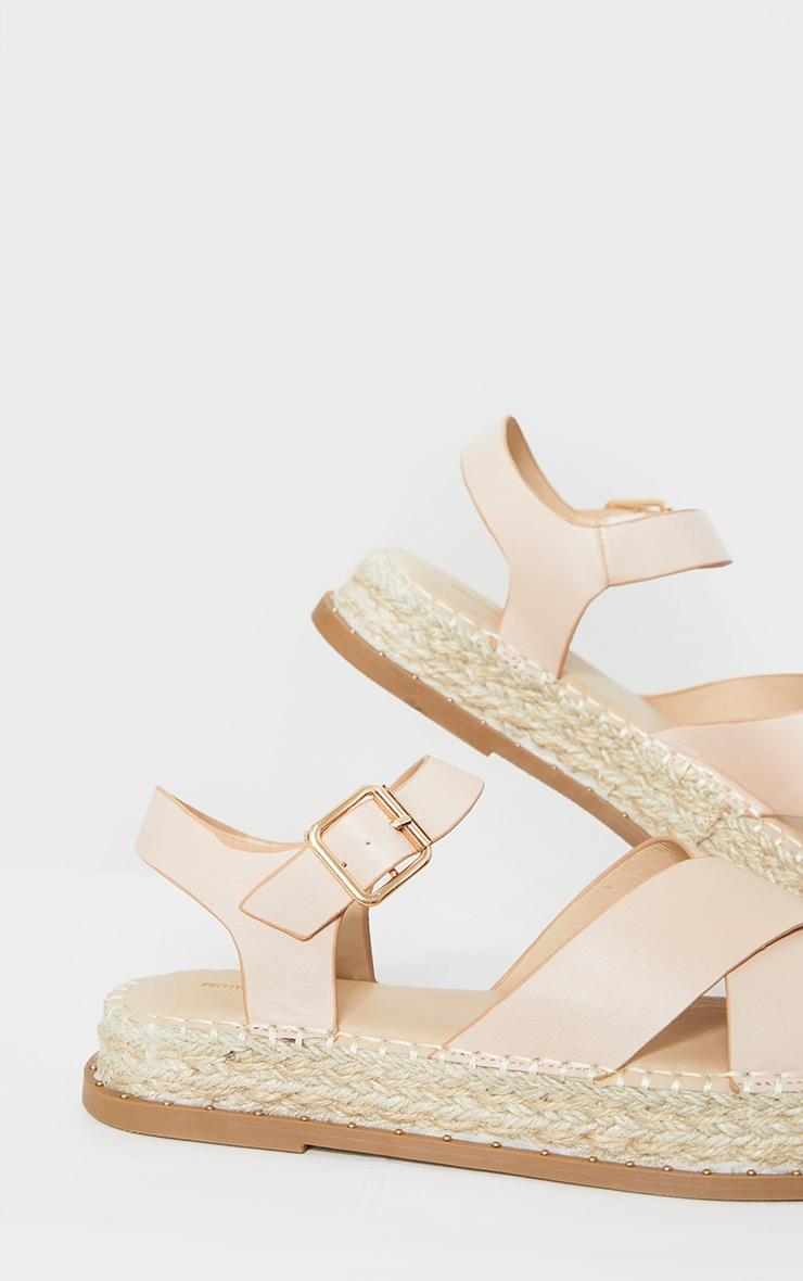 Nude Studded Flatform Espadrille Cross Strap Sandals 3