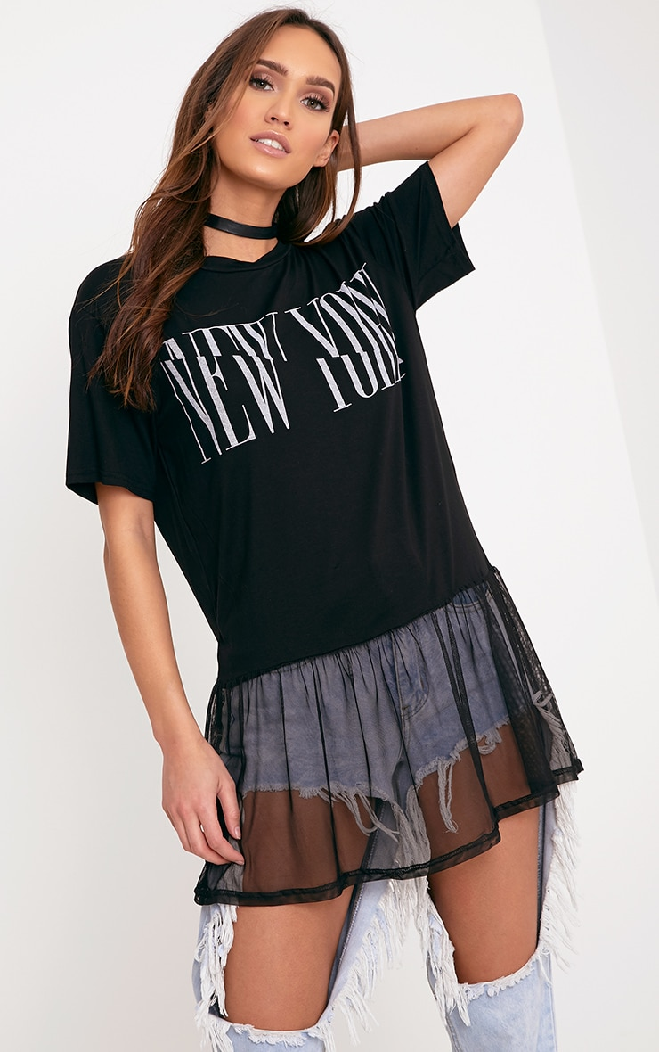 NEW YORK Spliced Slogan Black Mesh Hem T Shirt 1