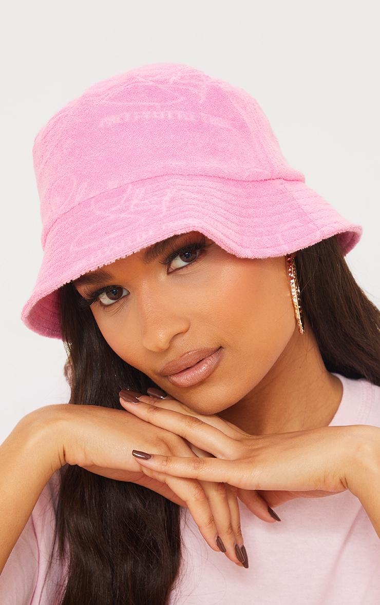 PRETTYLITTLETHING Shape Pink Towelling Bucket Hat image 1