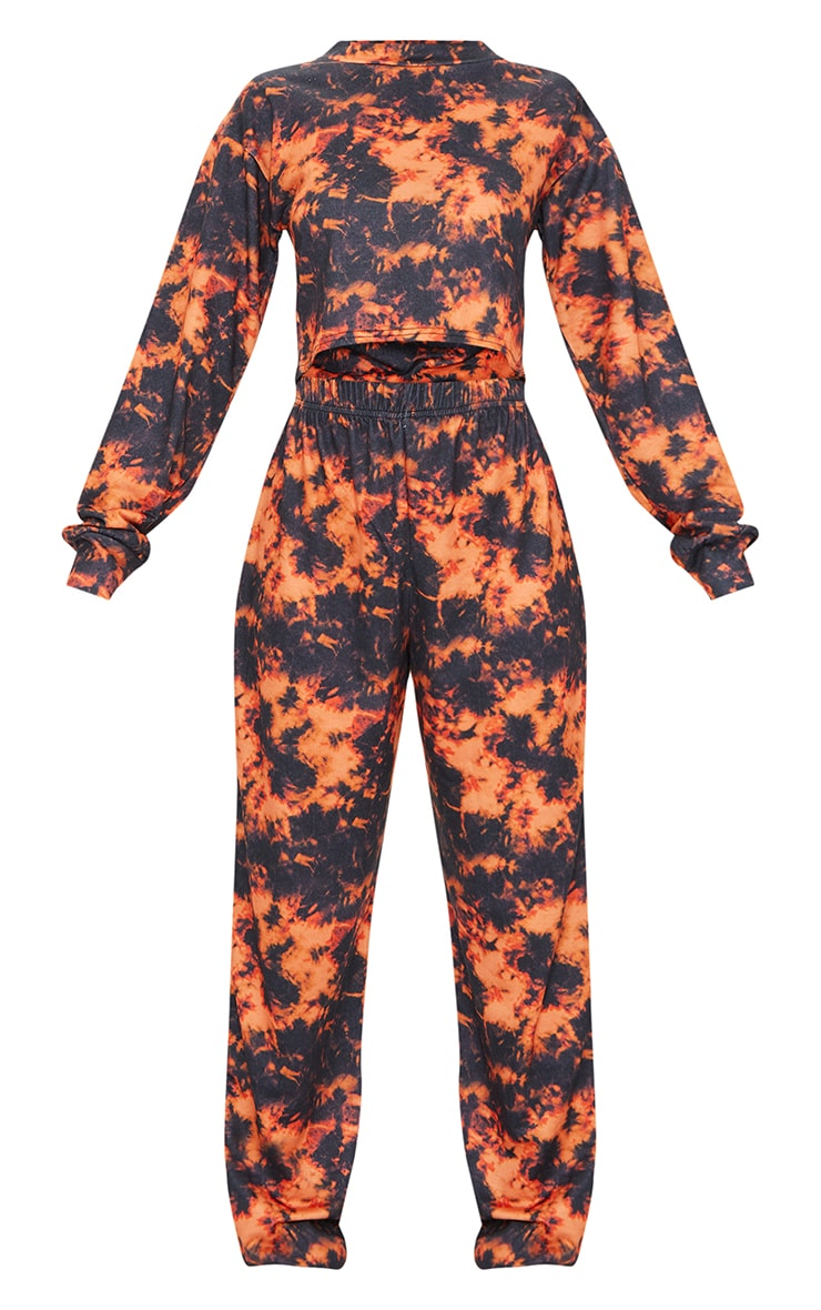Orange Tie Dye Cropped Sweat And Jogger Set 5