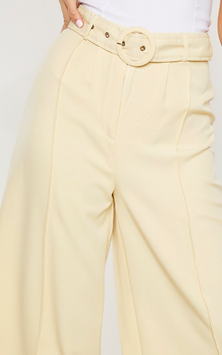 Tall Cream Circle Belt Wide Leg Culottes 5