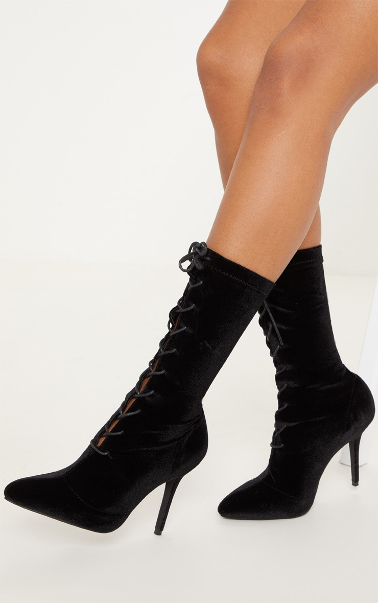 Black Velvet Mid Heel Lace Up Ankle Boot 1