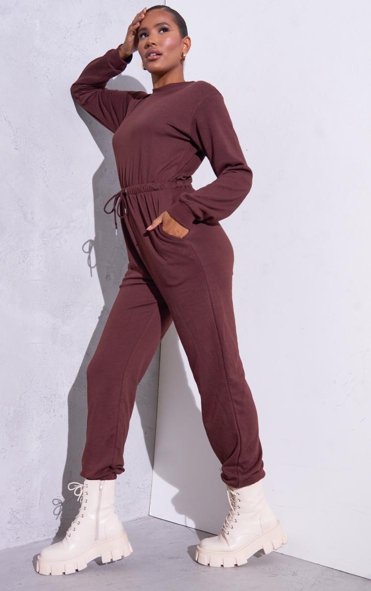 RENEW Chocolate Long Sleeve Sweat Jumpsuit 3