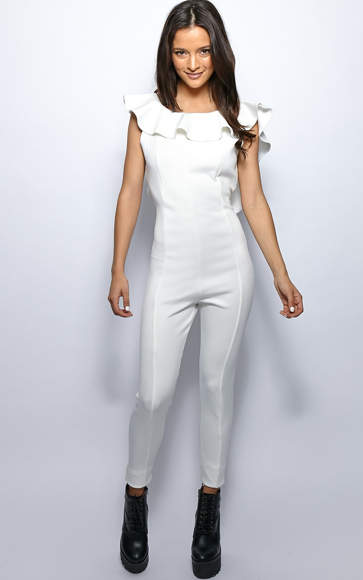 Fern White Frill Scoop Back Jumpsuit 3