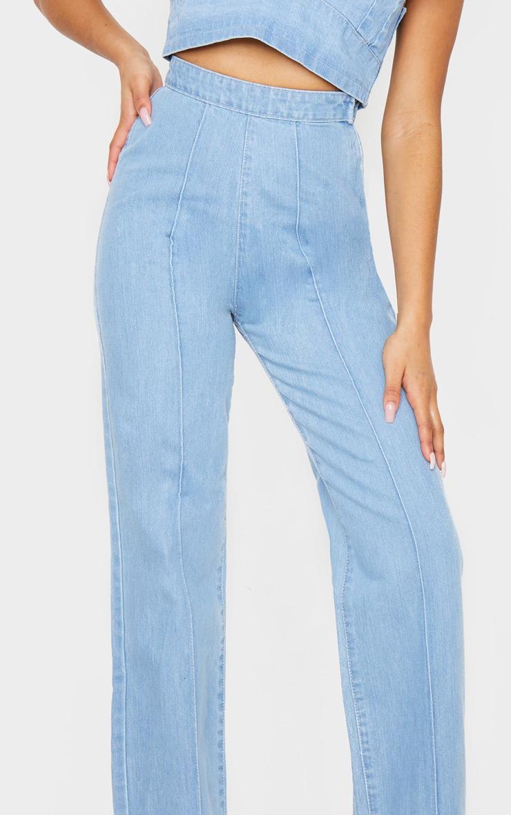Petite Light Wash Wide Leg Jeans 4