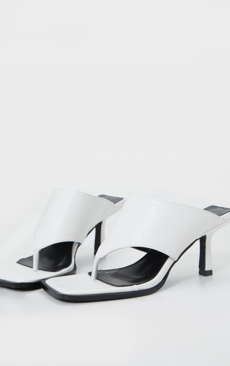 White Toe Thong Extreme Square Toe Mule 4