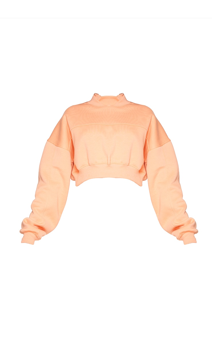 PRETTYLITTLETHING Peach Badge Back Detail Crop Sweater 5