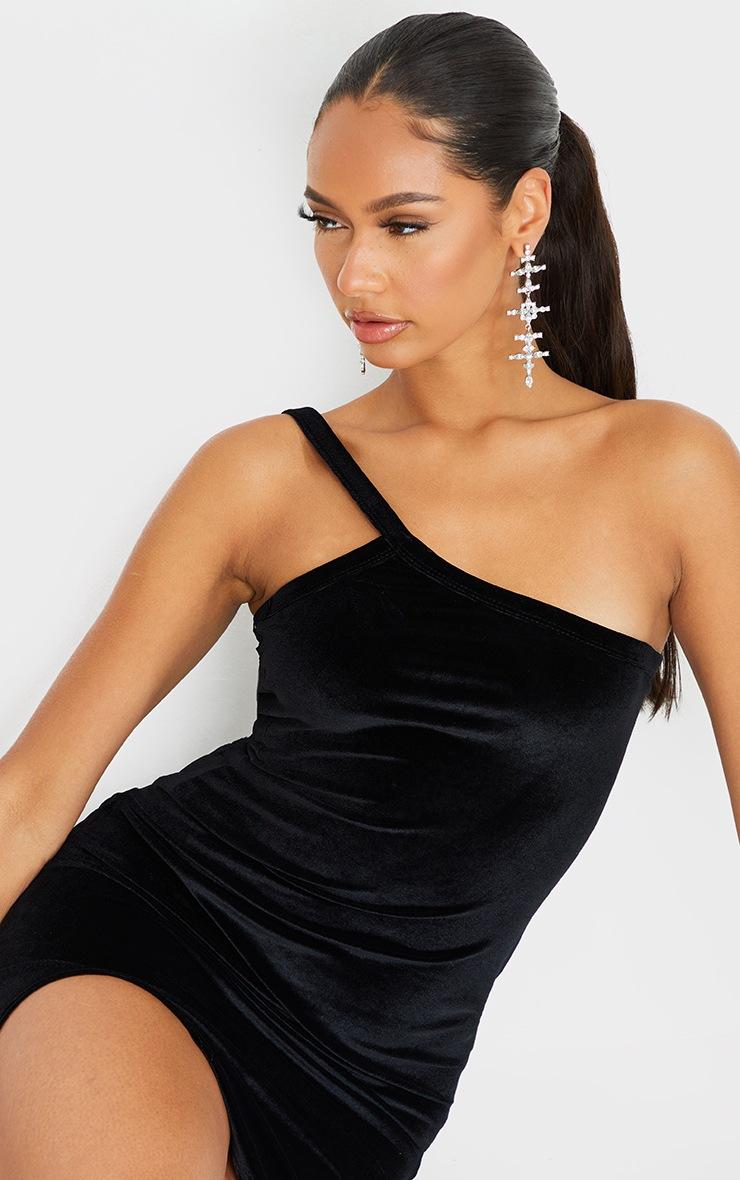 Black Velvet One Shoulder Strap Detail Split Hem Bodycon Dress 4