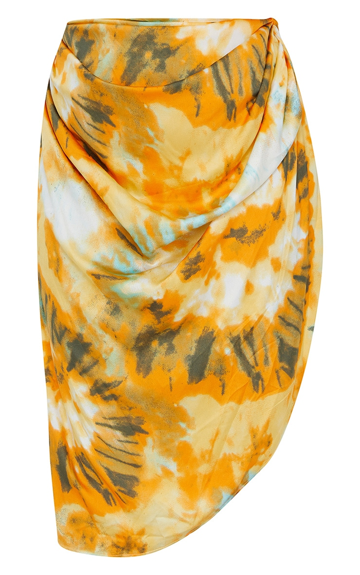 Plus Orange Tie Dye Ruched Side Midi Skirt 5