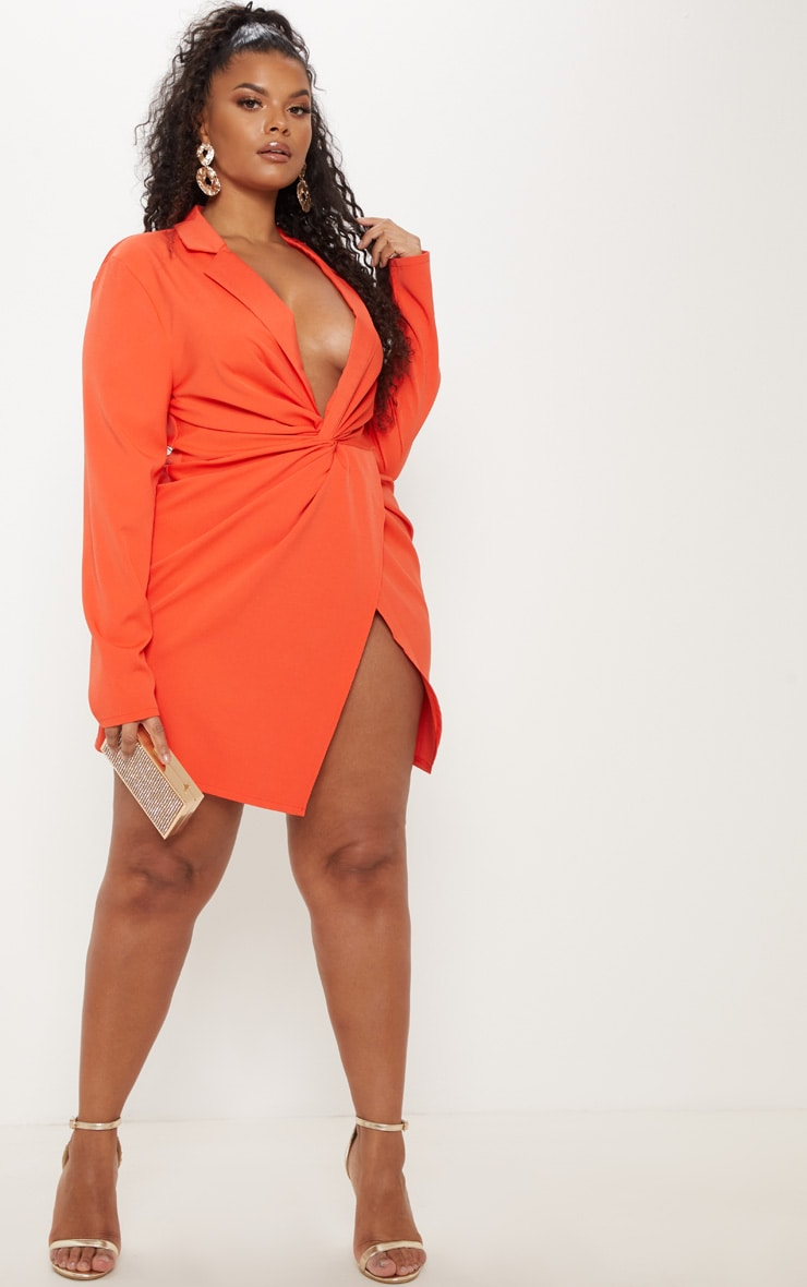 Plus Bright Orange Twist Front Shirt Dress 4