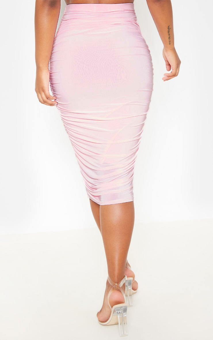 Baby Pink Slinky Second Skin Ruched Midi Skirt 4