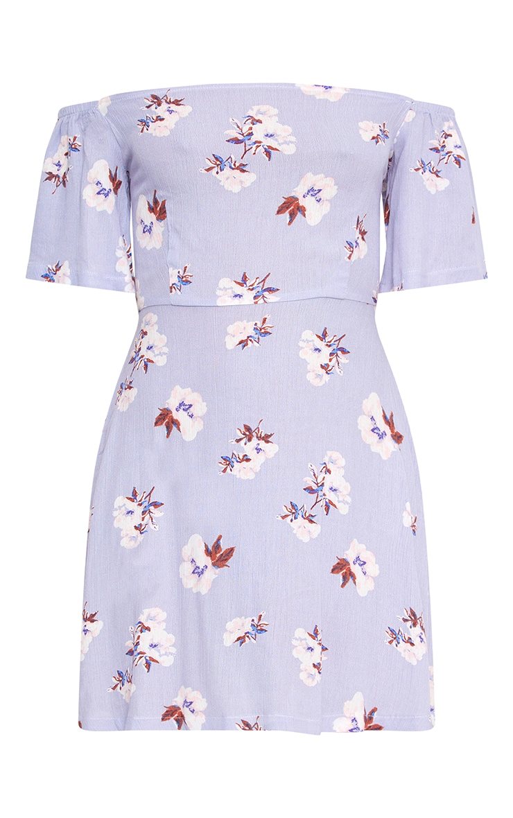 Lilac Floral Cheesecloth Shift Dress 3
