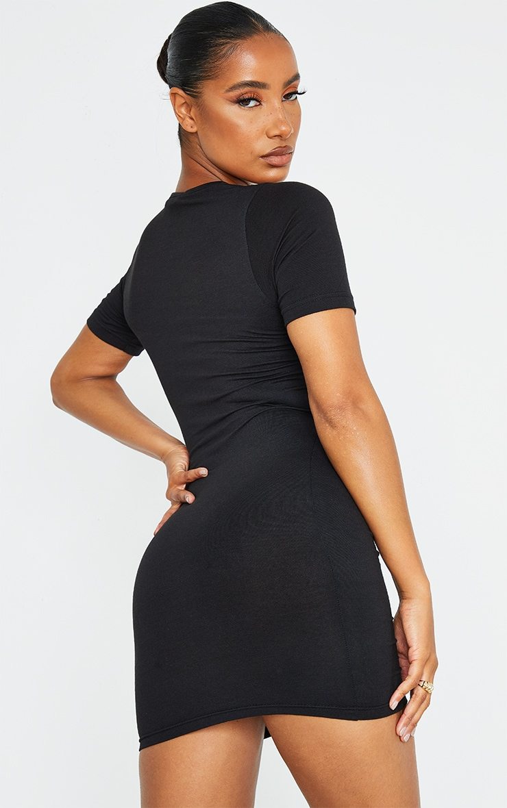 Black Cotton Ruched Cut Out Short Sleeve Bodycon Dress 2