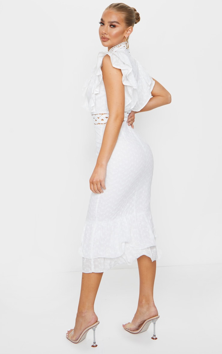 White Broderie Anglaise Trim Detail Midi Dress 2