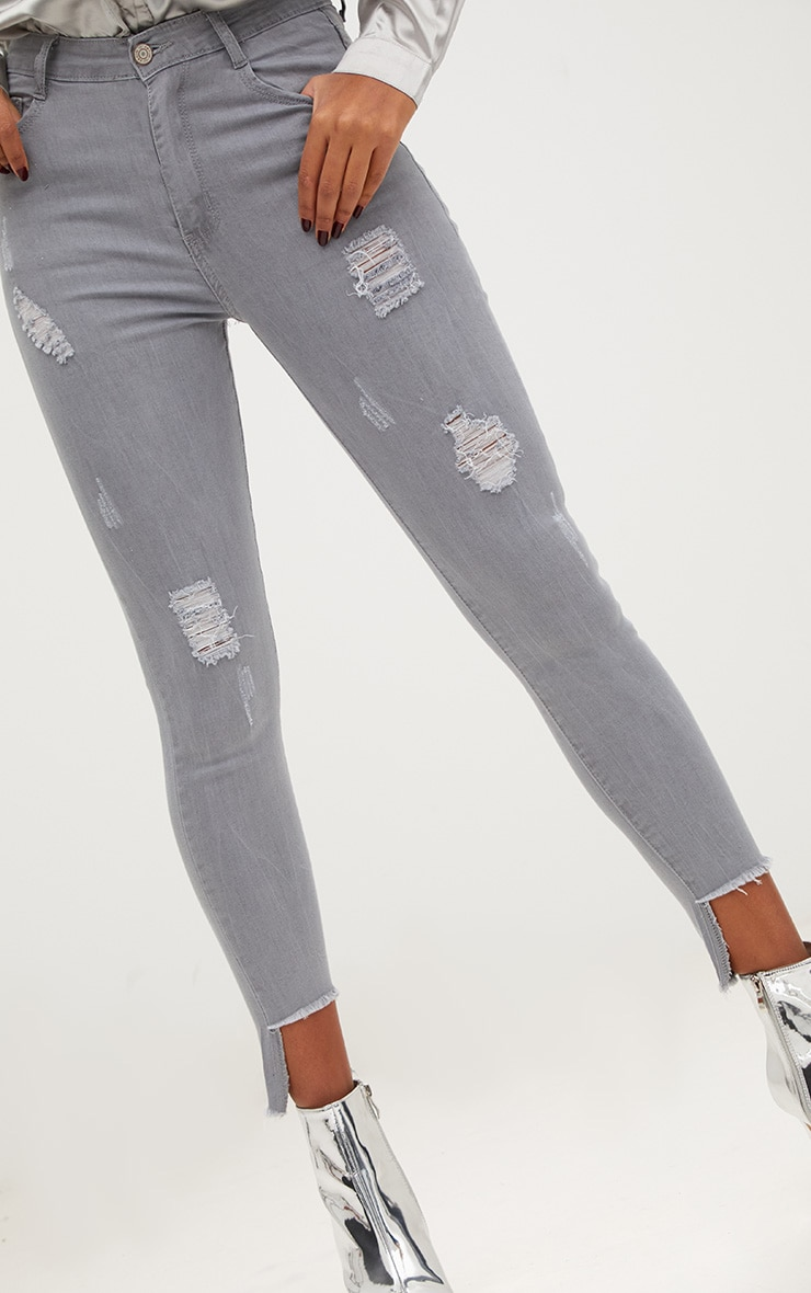 Light Grey Distressed High Waisted Skinny Jean 5
