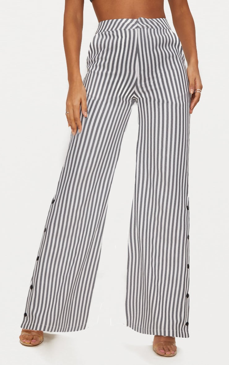 Black Humbug Stripe Popper Flared Trousers 2