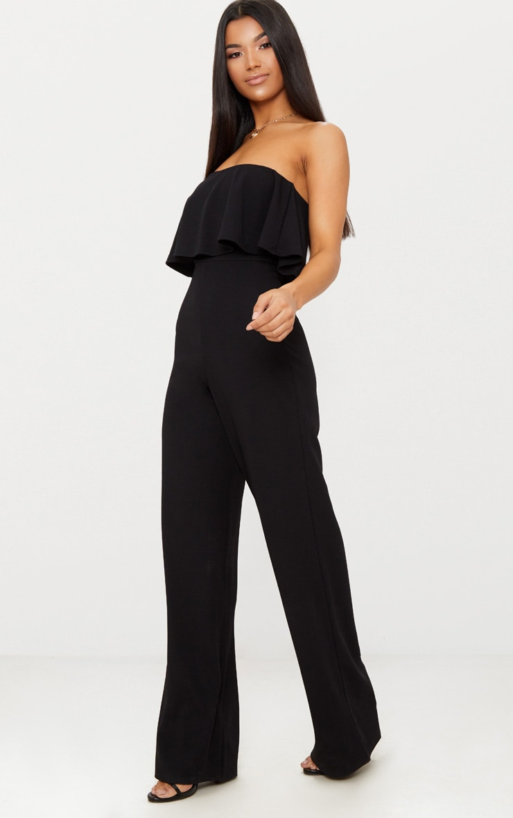 Black Bardot Double Layer Jumpsuit 4